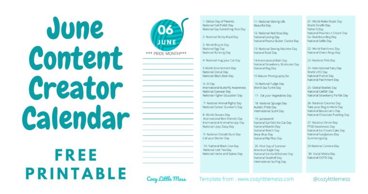 Content Creator Calendar (June 2020)