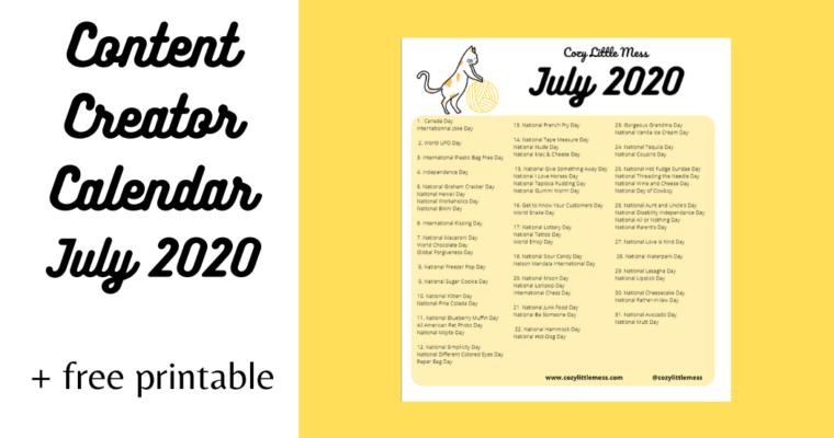 Content Creator Calendar (July 2020)